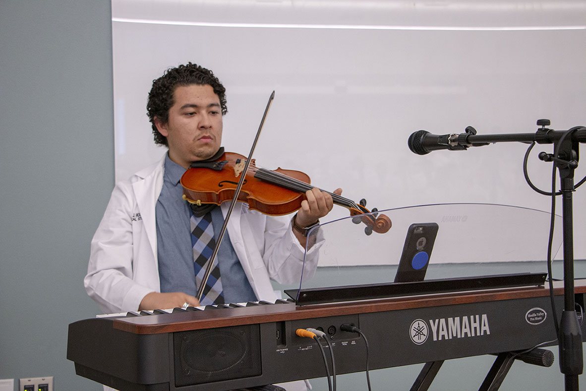 Jaime Rodriguez on violin at the 2019 Willed Body Memorial.