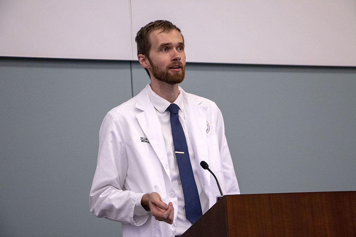 Second-year medical student Dillon Murray speaks at the Willed Body Memorial.